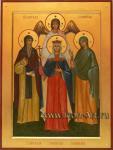 Семейная икона. Святой преподобный Сергий Валаамский, святая равноапостольная царица Елена, святая Наталья Никомидийская и святой Ангел Хранитель.