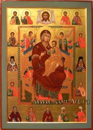 Икона Божией Матери Всецарица со святыми целителями на полях