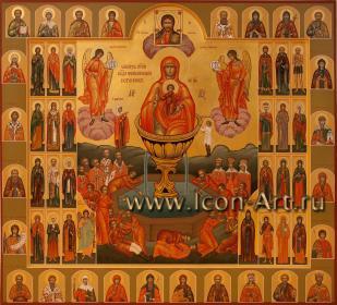 Семейная икона с образом Пресвятой Богородицы «Живоносный Источник» и избранными святыми
