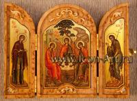 Скаладень из карельской березы со Святой Троицей, Пресвятой Богородицей и Иоанном Предтечей