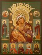 Икона Пресвятой Богородицы «Владимирская-Волоколамская» с избранными святыми