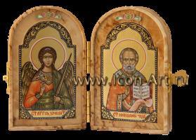 Складень: Ангел Хранитель и Николай Чудотворец