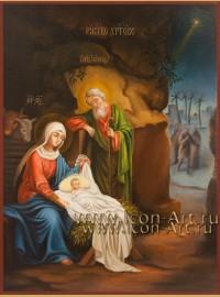 Рукописная Икона Рождества Христова 21*28см