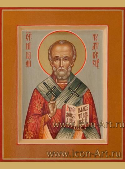 Рукописная Икона святителя Николая Чудотворца  10,5*13см