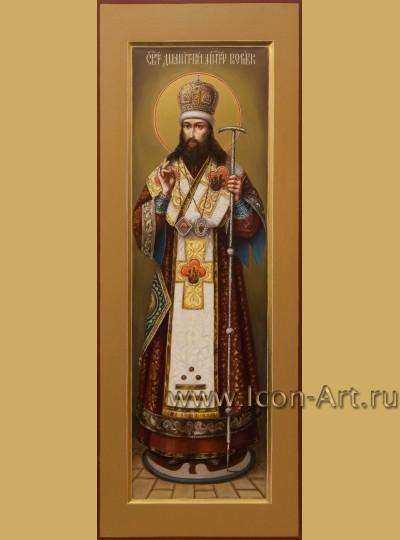 Рукописная мерная икона святого Дмитрия Ростовского