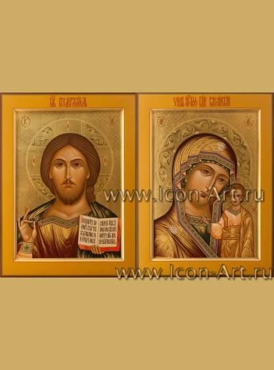 Рукописные Венчальные иконы Господь Вседержитель и Пресвятая Богородица Казанская 30*40см
