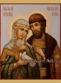 Рукописная Икона святых Петра и Февронии Муромских 15*20см