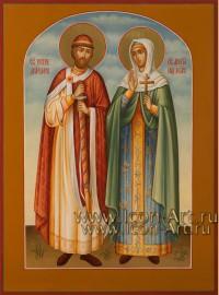 Рукописная Икона святых Петра и Февронии Муромских 21*28см