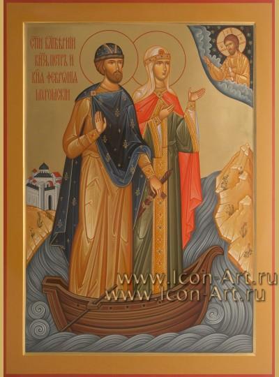 Рукописная Икона святых Петра и Февронии Муромских 50*70см