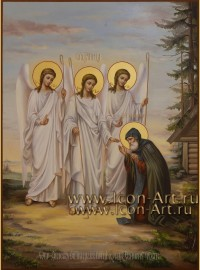 Рукописная икона Явление Пресвятой Троицы святому Александру Свирскому 30*40см