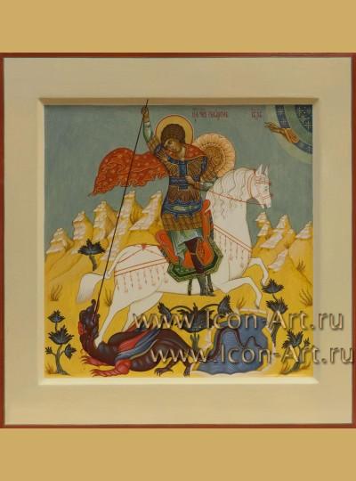 Рукописная Икона святого Георгия Победоносца 33,5*34см
