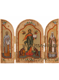 Складень из карельской березы 10*11,5 Спас Смоленский с предстоящими святыми