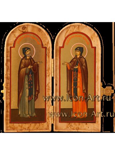Складень из карельской березы 8*10см Святы Петр и Феврония Муромский