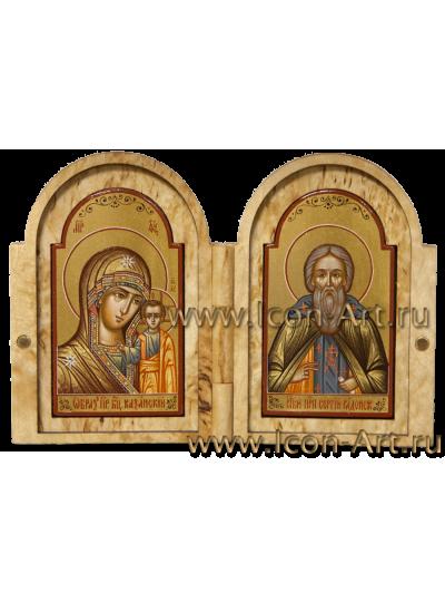 Складень из карельской березы 5*8см Пресвятая Богородица Казанская и святой Сергий Радонежский