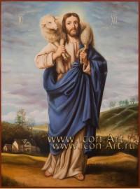 """Рукописная Икона Спасителя """"Добрый Пастырь"""" 21*28см"""