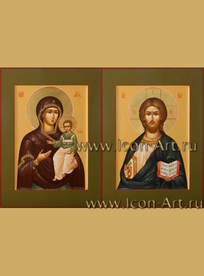 Рукописные Венчальные иконы Господь Вседержитель и Пресвятая Богородица Смоленская 21*28см