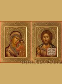 Рукописные Венчальные иконы Господь Вседержитель и Пресвятая Богородица Казанская 21*28см