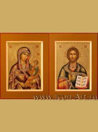 Рукописные Венчальные иконы Господь Вседержитель и Пресвятая Богородица Смоленско-Шуйская 15*20см