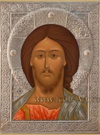 Рукописная Икона Господа Вседержителя в серебряном басменном окладе  21*28см