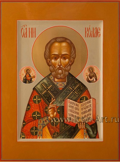 Рукописная Икона святителя Николая Чудотворца 21*28см