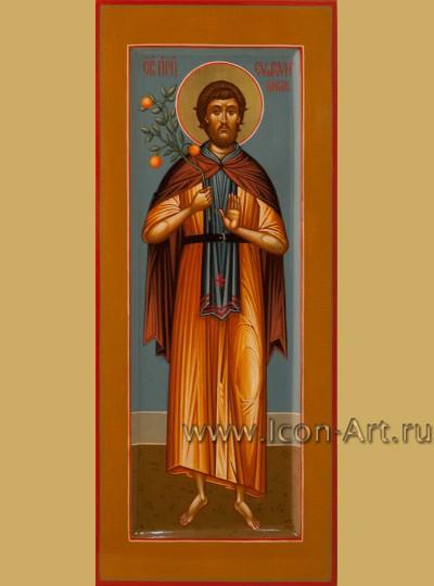 Рукописная Икона святого Евфросина Повара 10,5*25см