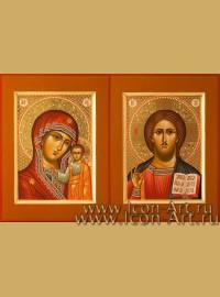 Рукописные Венчальные иконы Господь Вседержитель и Пресвятая Богородица Казанская 15*20см