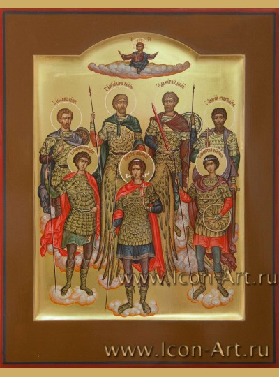 """Рукописная Икона """"Собор святых Воинов"""" 30*23 см"""