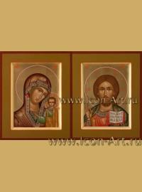 Рукописные Венчальные иконы Господь Вседержитель и Пресвятая Богородица Казанская 10,5*13см
