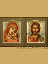 Рукописные  Венчальные иконы Господь Вседержитель и Пресвятая Богородица Корсунская 15*18см