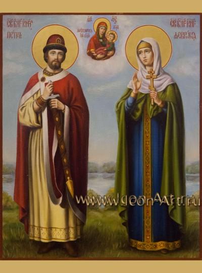 Рукописная Икона святых Петра и Февронии Муромских 20*24см