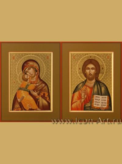 Рукописные Венчальные иконы Господь Вседержитель и Пресвятая Богородица Владимирская