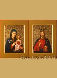 Рукописные Венчальные иконы Господь Вседержитель и Пресвятая Богородица Неувядаемый Цвет 21*28см