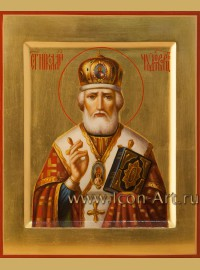 Рукописная Икона святителя Николая Чудотворца 17*21см
