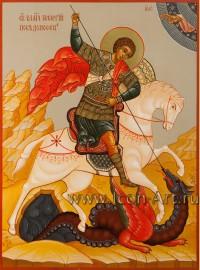 Рукописная Икона святого Георгия Победоносца 21*28см