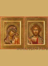 Рукописные Венчальные иконы Господь Вседержитель и Пресвятая Богородица Казанская