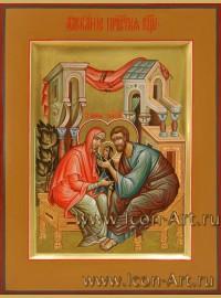 Рукописная  Икона ласкание Пресвятой Богородицы 15*20 см