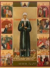 Рукописная Икона святой блаженной Матроны Московской со сценами жития 40*50см