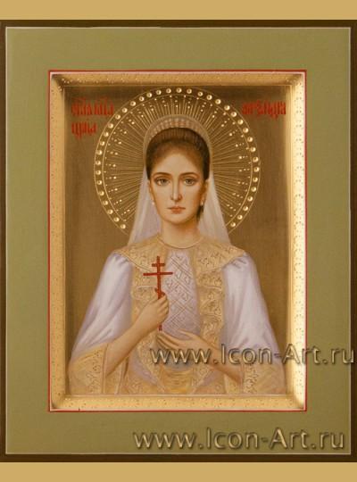 Рукописная Икона святой императрицы Александры Романовой 10,5*13см