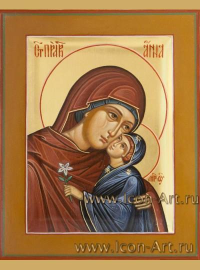 Рукописная Икона святой Анны, матери Пресвятой Богородицы  10,5*13см