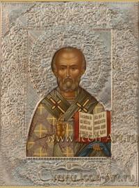 Рукописная Икона святителя Николая Чудотворца в посеребренном окладе 21*28см