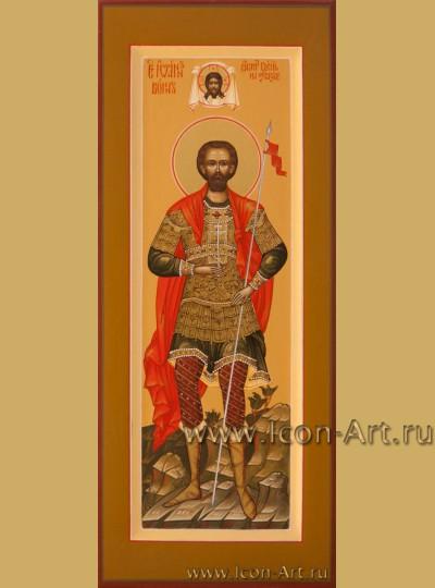 Рукописная Икона святого Иоанна Воина 10,5*13см