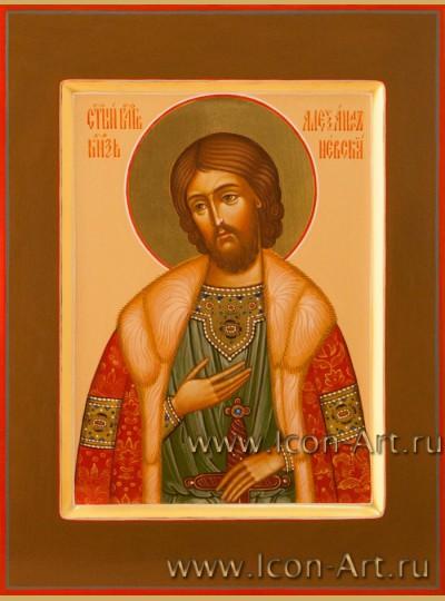Рукописная Икона святого Александра Невского 15*20см