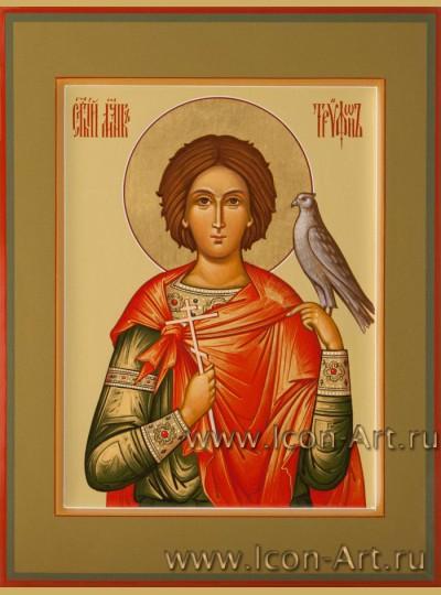 Рукописная Икона святого мученика Трифона 15*20см