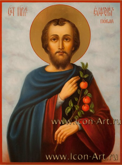 Рукописная Икона святого Евфросина Повара 21*28см