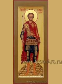 Рукописная Икона святого Дмитрия Солунского 10,5*13см