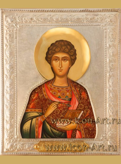 Рукописная Икона святого великомученика Пантелеимона в посеребренном окладе 21*28см