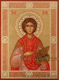 Рукописная Икона святого великомученика Пантелеимона 15*20см