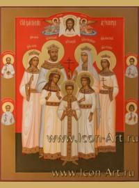 Рукописная Икона Царской семьи со слугами 64*79см