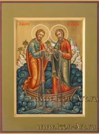 Рукописная Икона святых апостолов Петра и Андрея Первозванного 21*28см