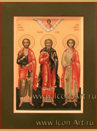 Рукописная Икона Святых Гурия, Самона и Авива 21*28см